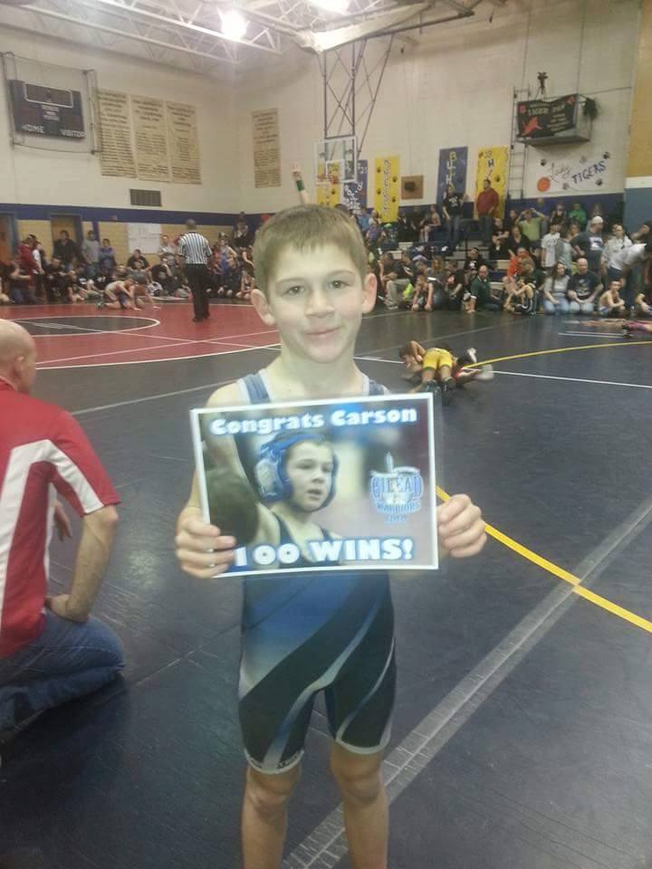 Carson Webster (Gilead) Gets his 100th win at The Mansfield, PA Tournament