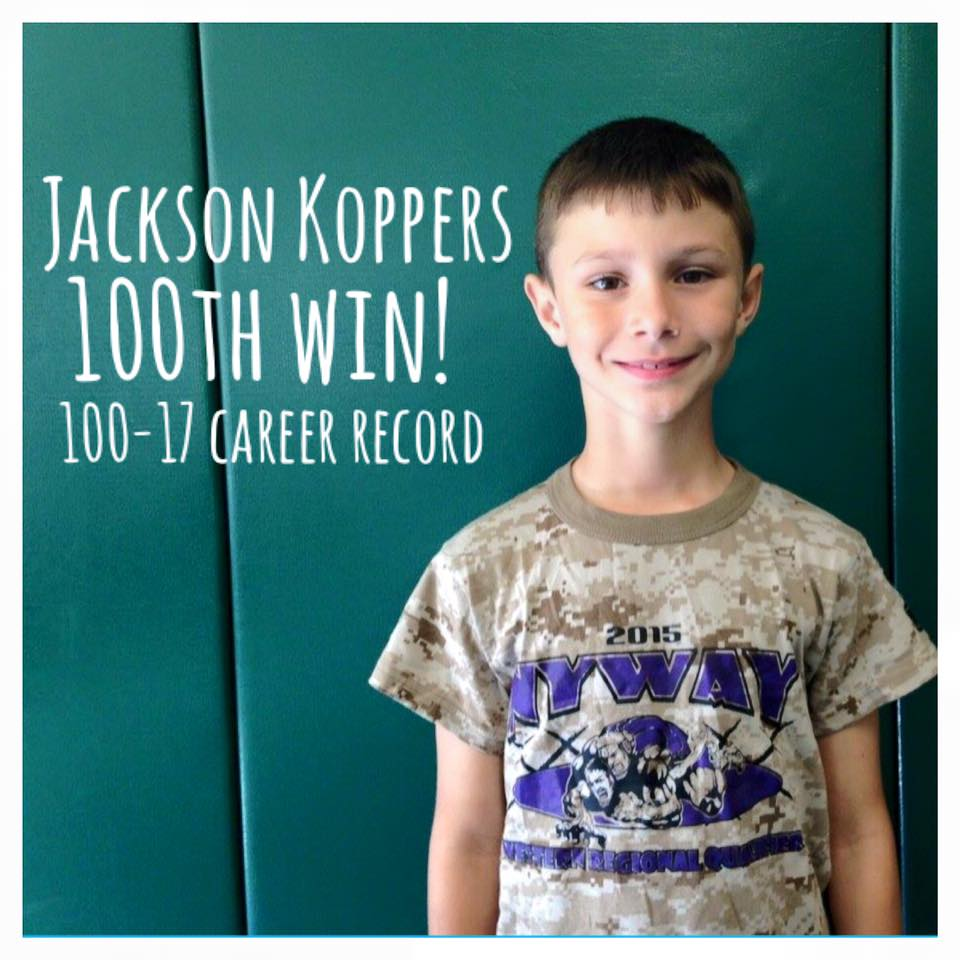 Jackson Koppers (Slingshot) Gets his 100th win at the Webster Youth Wrestling Tournament