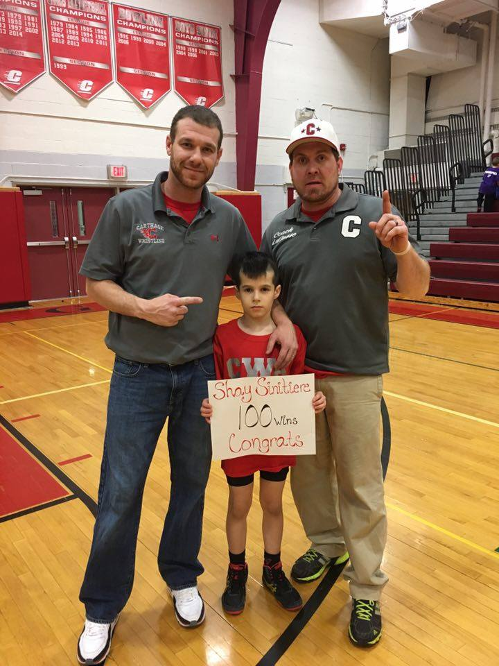 Shay Sinitiere (Carthage) Gets his 100th win at The Carthage Dual Meet